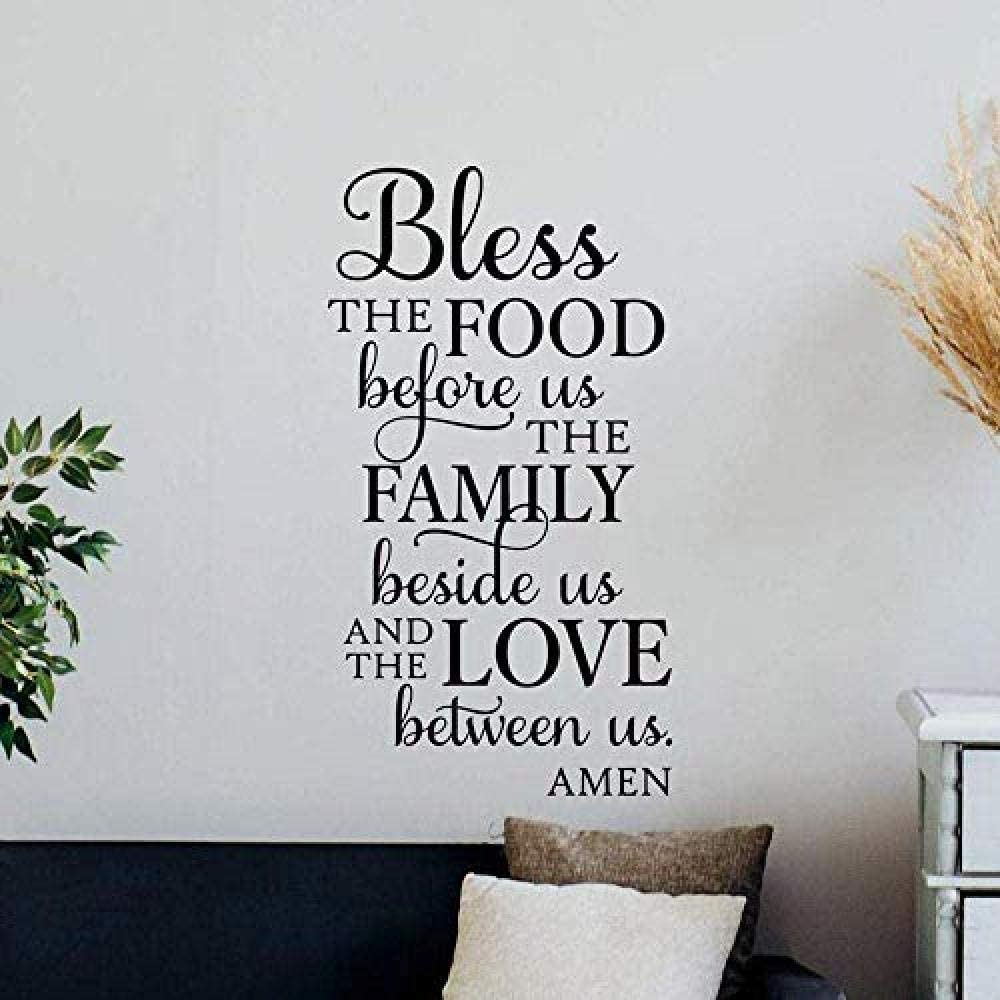 yjnm Bless The Food Before Us Wall Decal Kitchen Sign Office Dining Room Mural Vinyl Sticker Home Decor Wall Art 30 55Cm
