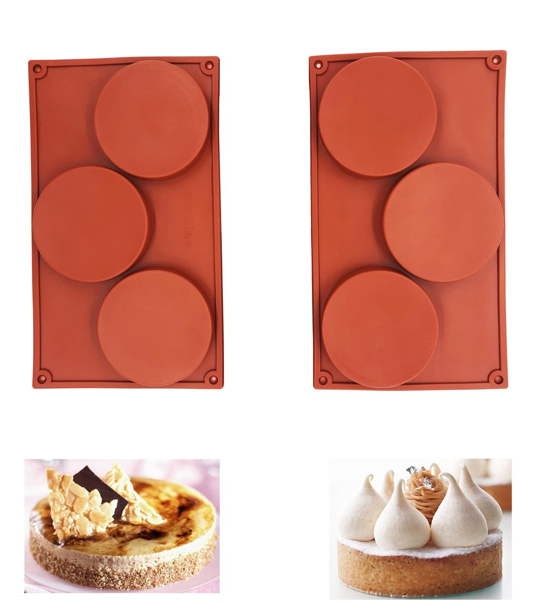 2Pcs/set 3-Cavity Large Round Disc Candy Silicone Mould Teacake Pastry Bakeware for Baking, Polymer Clay, Soap Making, Epoxy Resin, Jewelry Making, Crafting Projects