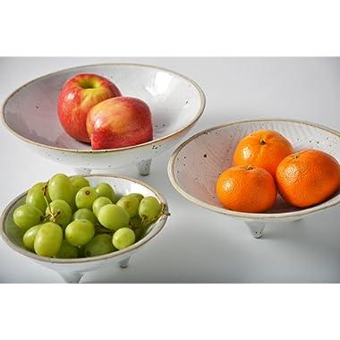 Pangu Porcelain 3-Piece-Set Handmade Fruit Plate ------Diameter 9 ,7.5 ,6 - Home Decor Accessories (White)