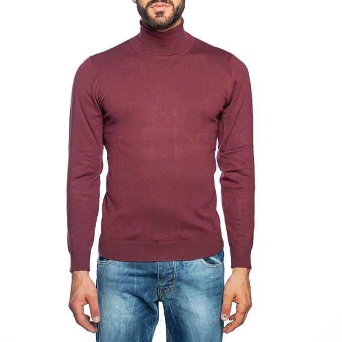 d35863bbff1a SARTORIA ITALIANA MASSIMILIANO SORVINO Dolcevita Bordeaux Uomo Slim Fit   Amazon.it  Abbigliamento