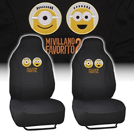 Despicable Me Minions Seat Covers For Front Seats Pair In Spanish Amazoncouk Car Motorbike