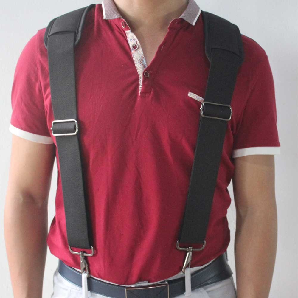 Tool Belt Suspenders Heavy Duty Flexible Adjustable Straps with Comfortable Padded Shoulders Complete with 4 Loop Attachments
