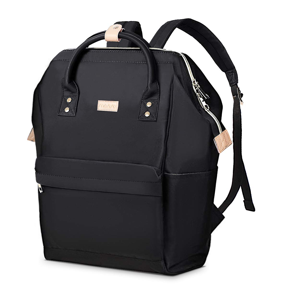 MOSISO Business Travel Laptop Backpack (Up to 15.6 Inch), Water Repellent Polyester College School Bookbag Casual Daypack Organizer Bag for Women Men Boy Girl, Compatible MacBook & Notebook, Black