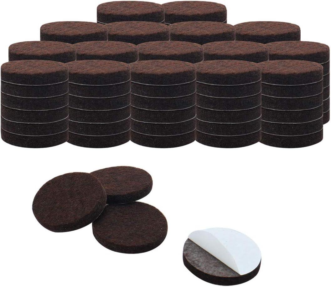 "uxcell 100pcs Furniture Pads Round 7/8"" Self-stick Non-slip Anti-scratch Felt Pads Floors Protector Dark Brown"