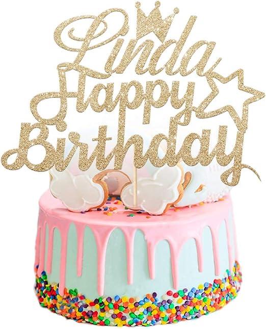 Wondrous Edsg Personalised Girls Birthday Cake Topper Personalise With Funny Birthday Cards Online Benoljebrpdamsfinfo