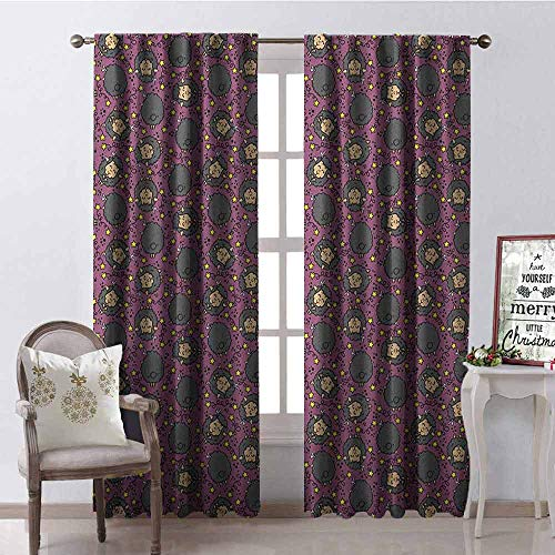 GloriaJohnson Kids Shading Insulated Curtain Cheerful Pattern with Funny Cartoon Style Sheep Characters with Big Smiles and Stars Soundproof Shade W42 x L63 Inch - Lr Drape