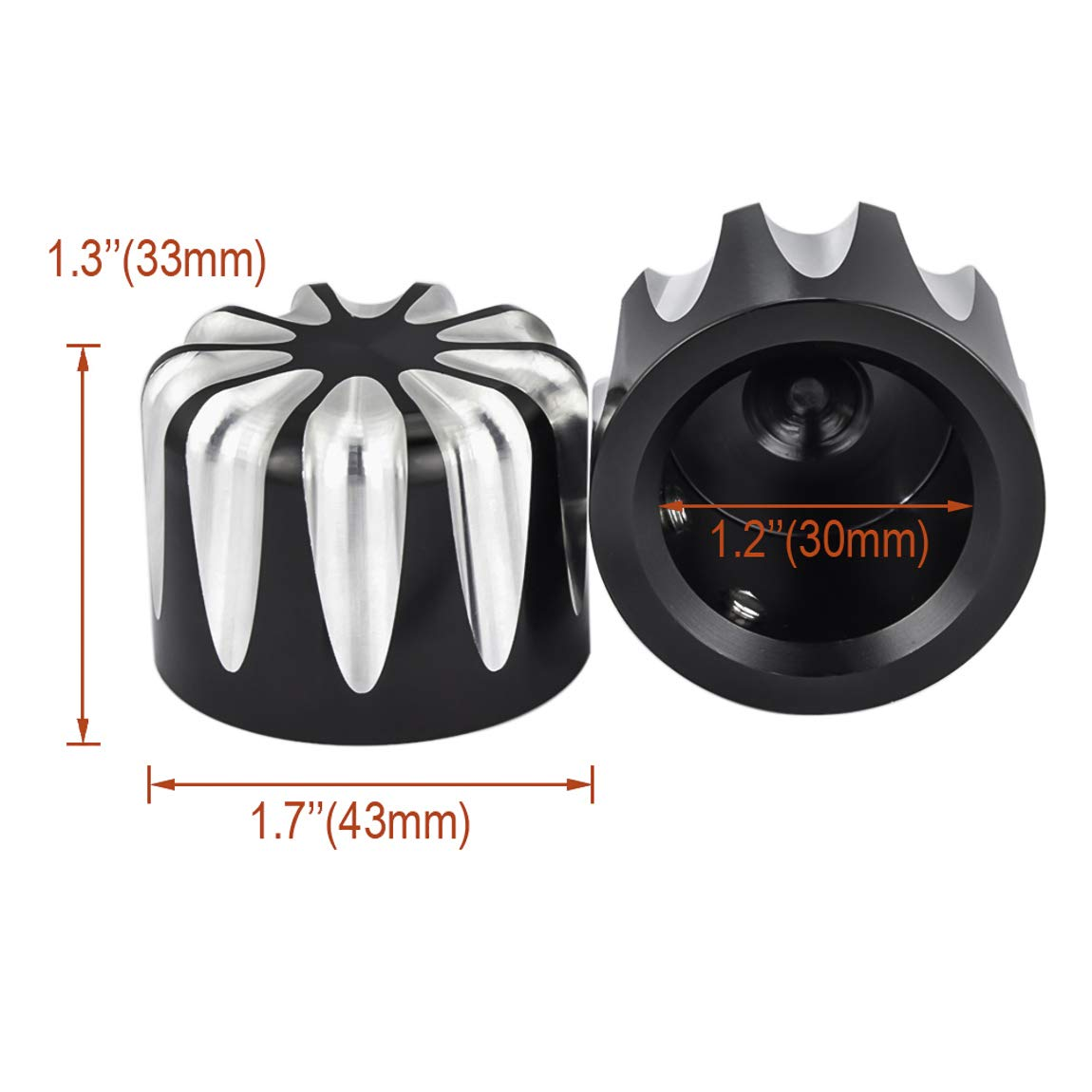 Lalaparts Black Front Axle Nut Cover Cap Compatible for Harley Softail Electra Road Glides Sportster