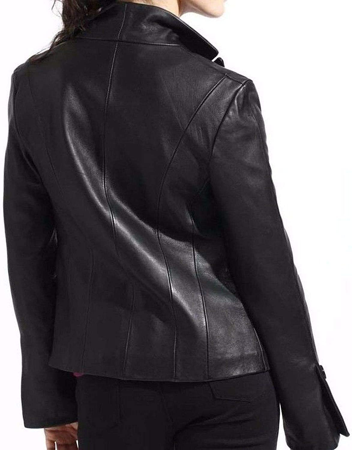 Pristine Leather Womens Real Lambskin Leather Black Blazer Coat Jacket WJ-027