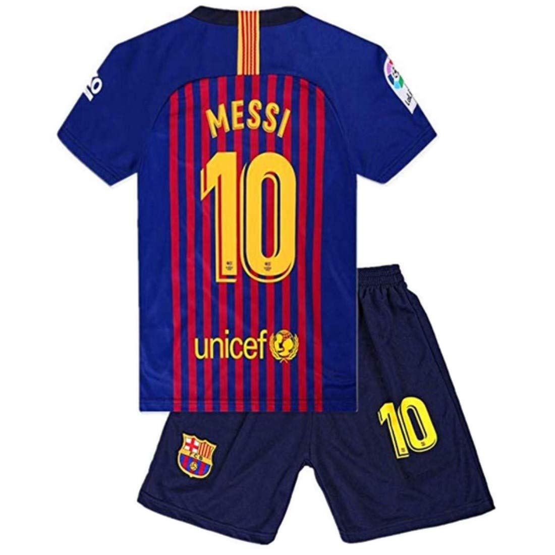 d1f800d8248 Amazon.com: #10 Messi Barcelona Kids/Youth Home Boys Soccer Jersey & Shorts  18-19 Season Red/Blue: Clothing