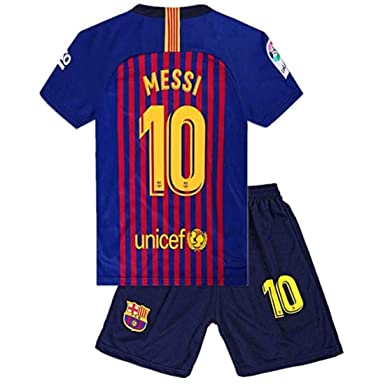 70ab39cae Amazon.com: #10 Messi Barcelona Kids/Youth Home Boys Soccer Jersey ...