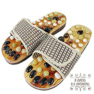 Neo Reflexology Sandals | Ultimate Therapeutic Natural Stone Reflexology Slippers | Foot Acupressure Shiatsu Massage | Non-Slip and Anti-Bacterial Materials | Fit 9 (W)/7.5 (M) Feet Size | 73.1