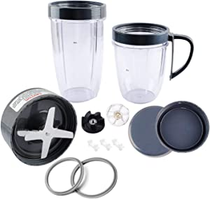 Wadoy Blender Cups Kit 18oz & 24oz with Blade & Lids & & Gear & Shock Pads 14 Pieces Replacement Parts Fits for NutriBu-llet Blender 900W/600W Series