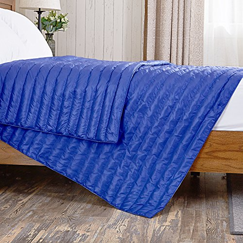 puredown Nylon White Goose Down Indoor/Outdoor Camping Blanket Blue