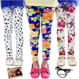 Yaobabymu 3-Pack Girl Pants Stretch Printing Flower Toddler Kids Classic Girls Leggings