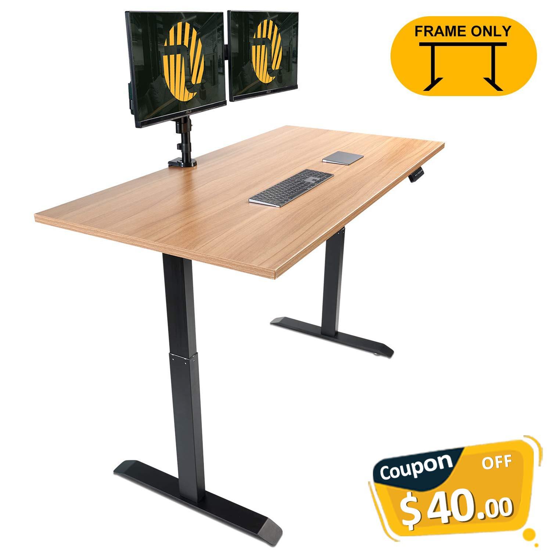 Electric Black Stand up Desk Frame - FEZIBO Single Motor with Cable Management Rack Height Adjustable Sit Stand Standing Desk Base Workstation (Frame Only)