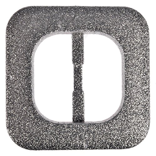Mibo Nylon Sprayed Buckle Square with Rounded Edges Silver Glitter Finish 40mm Inside ()