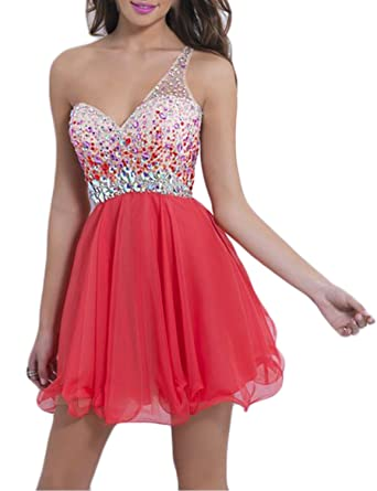 LucysProm Womens Prom Dresses Open Back Tulle&Chiffon One Shoulder Dresses Size 2 US Water Melon