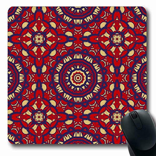 - LifeCO Computer Mousepad Artistic Bandana Pattern Geometric Color Red Bandanna Border Classic Drawn Nobody Oblong Shape 7.9 x 9.5 Inches Oblong Gaming Non-Slip Rubber Mouse Pad Mat