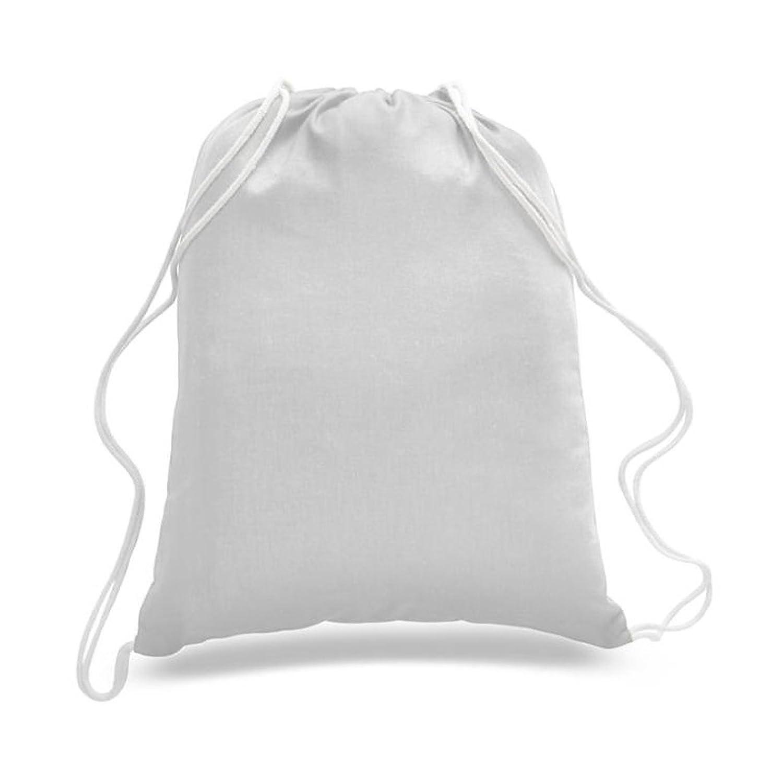 georgiabags (24パック) ドローストリングバックパックバッグin Bulk、スポーツジムシューズバッグ、100 %コットン、基本的なDrawstring Tote Cinch Sack Promotionalバックパックバッグ B07CWQ2DL7 ホワイト