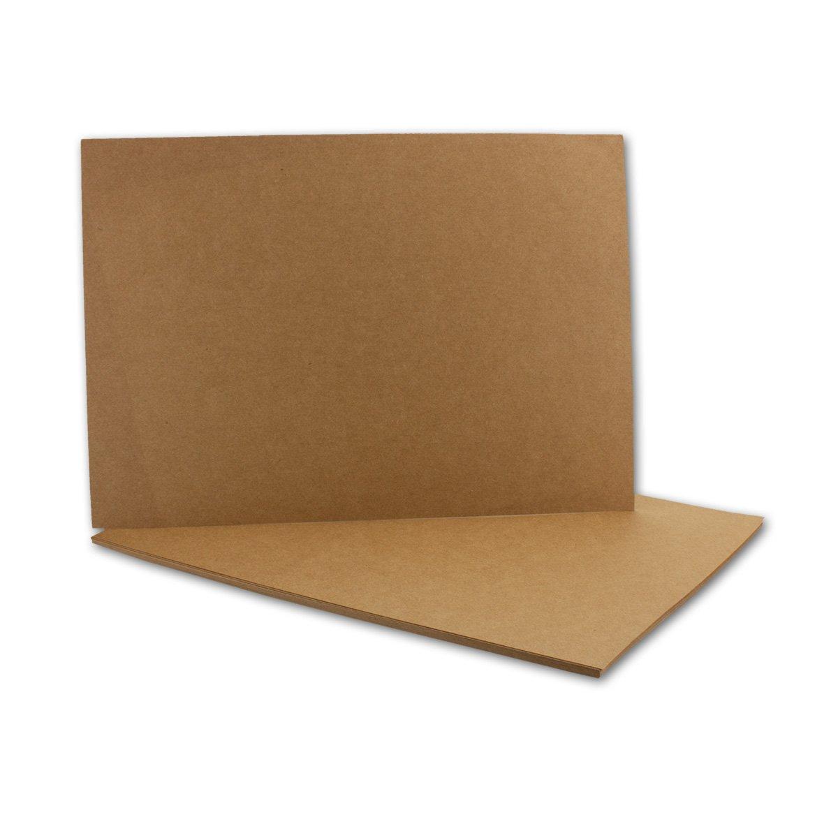 Kraftpapier-Karten in Braun | 100 Stück | Blanko Einladungs-Karten zum Selbstgestalten & Basteln | bedruckbare Post-Karten in DIN A6 Format | 285 g/m² | Exklusive Grußkarten für Besondere Anlässe Neuser