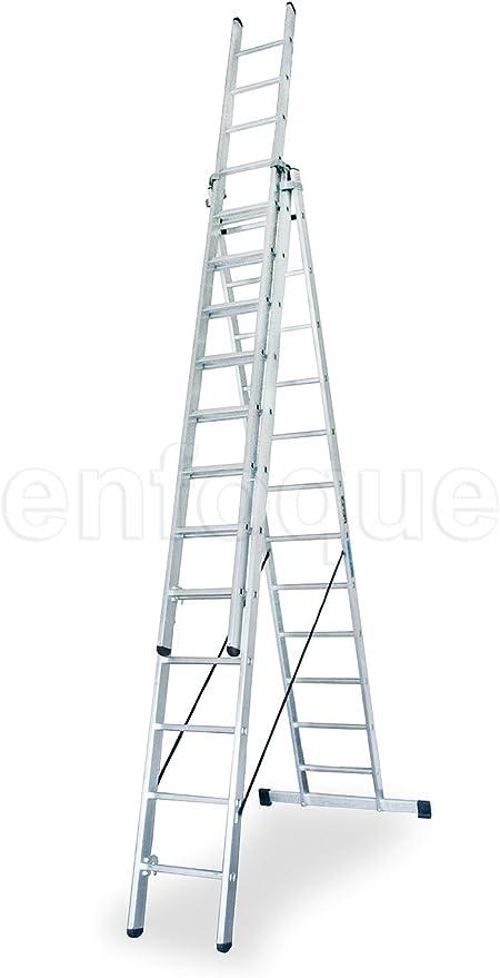 Escalera industrial de aluminio triple tijera un acceso con tramo extensible 12 x 3 peldaños serie robust: Amazon.es: Hogar
