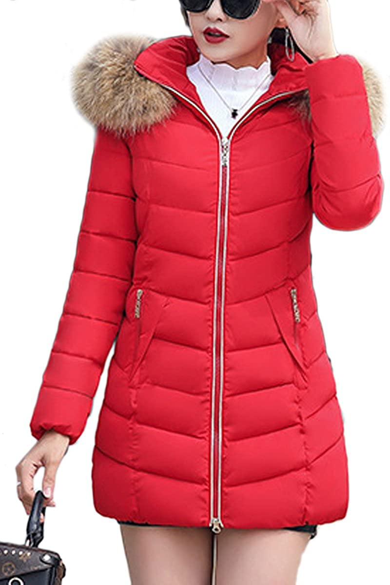Liouliu Women's Winter Down Coat Parka Faux Fur Collar Hooded Coat Quilted Jacket