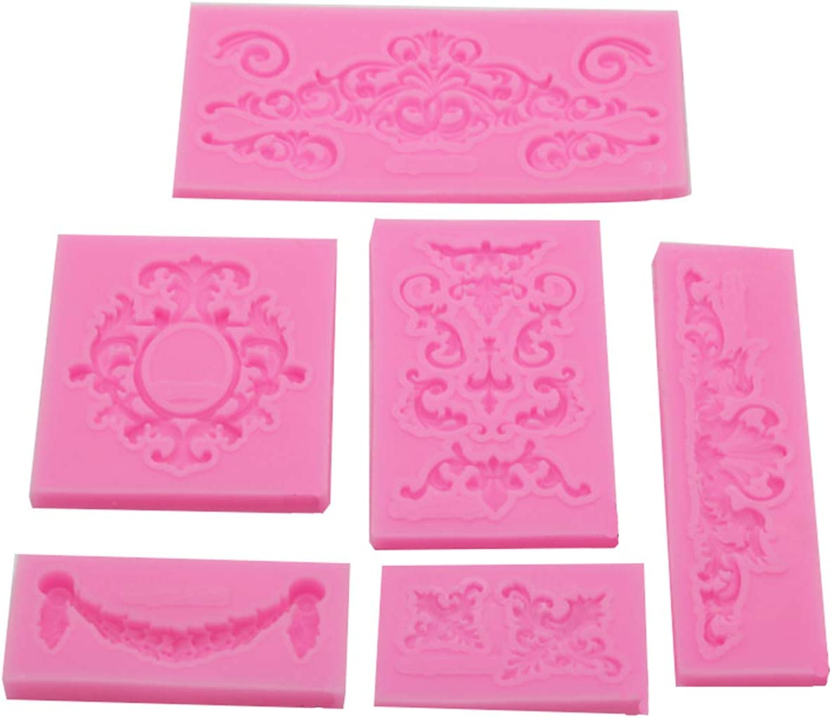 Pearl Fondant Mold,Lace Silicone Mold for Cake Decorating Sugarcraft Baking Mould Cookie Pastry Pies Cake Toppers (6 Pack)