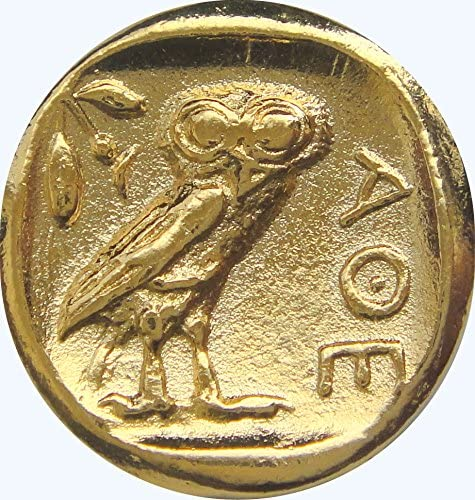 77PC-G Greek Coins Golden Artifacts Athena and Owl Percy Jackson Teen Gift Pendan with Chain,Greek Mythology