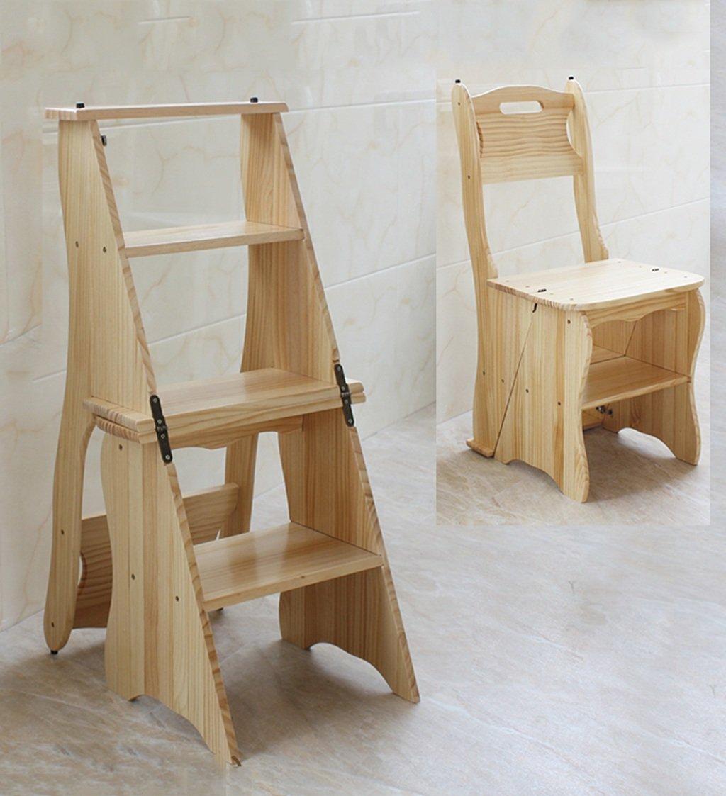CAIJUN 椅子の座席ホームラダーフリップ折り畳み式階段の椅子ソリッドウッド多機能棚二重使用クライミングスツール、4色 (色 : D) B07DVW9823 D D