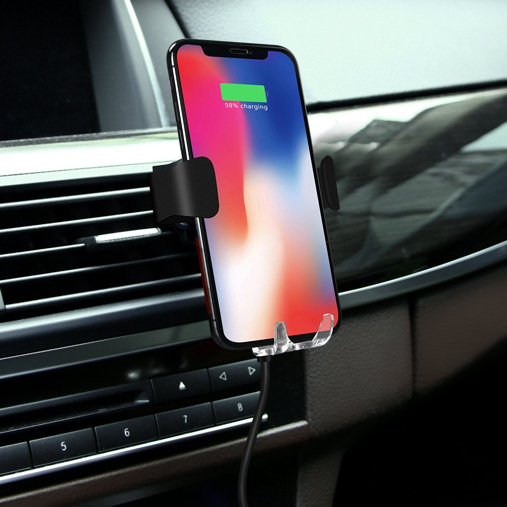 Automatic Qi Wireless Charger Car Mount Phone Holder For Samsung Galaxy S9 Plus/S9, S8 Plus/S8, S7/S7 Edge, Note 8/5, Apple iPhone X, 8 Plus/8 & Any Qi-enabled Device(Black) by TOFOCO COM (Image #8)