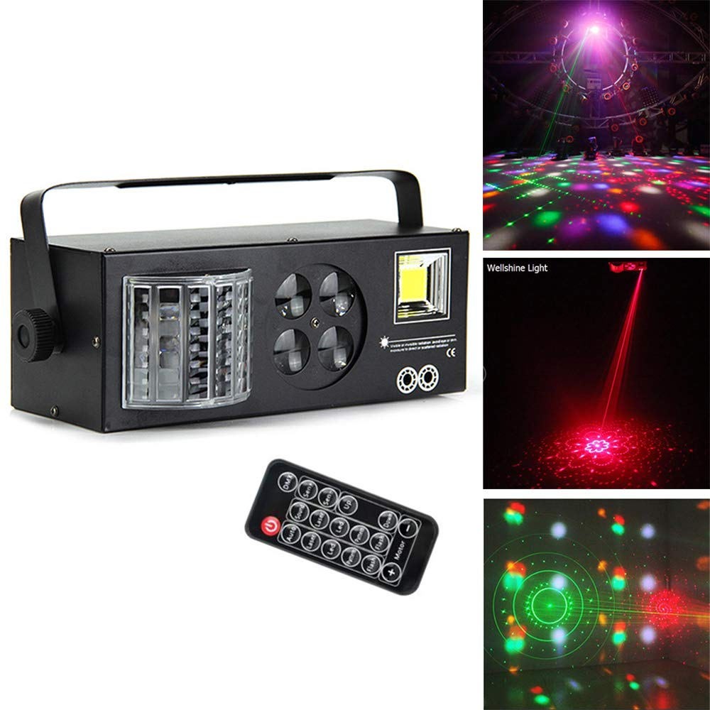 4 In 1 Mix Effect Party light, LED DMX Rotate Light Laser Light Sound Controlled Auto Disco DJ Lights for Live Show Xmas Halloween With Remote Control (Black) by Wanpu