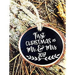 First Christmas as Mr. and Mrs. 2017 Vine Tree Rustic Wood Slice Christmas Ornament with Jute Twine Ribbon