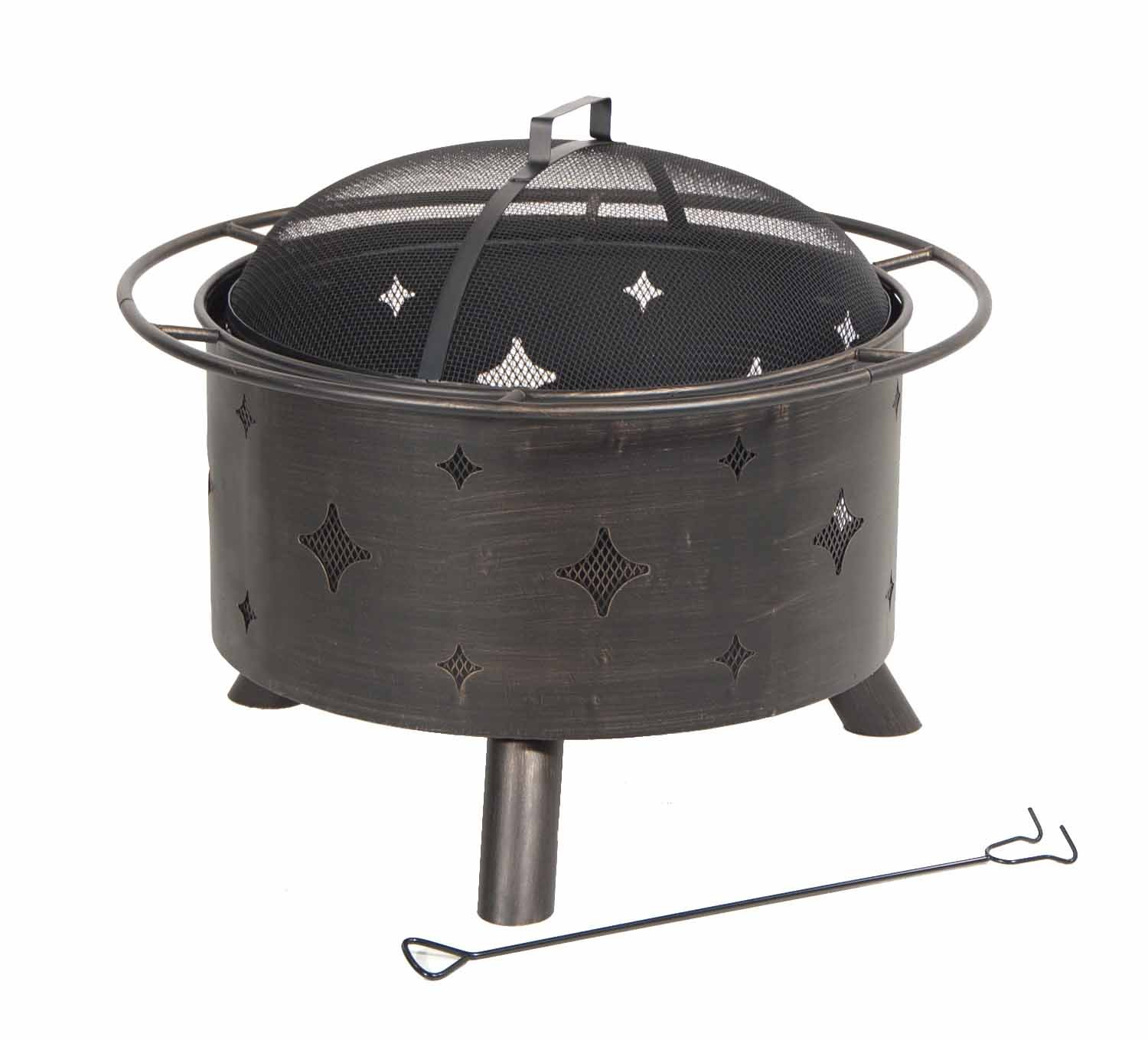 DeckMate 991047 Kay Home Product'S Lantana Steel Fire Bowl - Decorative diamond shaped cutouts enhance warmth and glow from this stylish outdoor fireplace Three sturdy steel legs assure stability and the steel log grate allows circulation and air flow The wire mesh spark screen provides protection from sparks and allows for an open view of the fire - patio, outdoor-decor, fire-pits-outdoor-fireplaces - 61mnvOkqxSL -