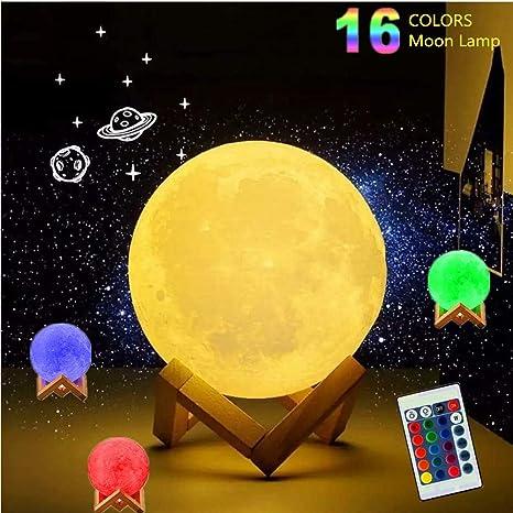 Elecstars 16 Colores Lámpara de la Luna 3D, Lámpara de Escritorio ...