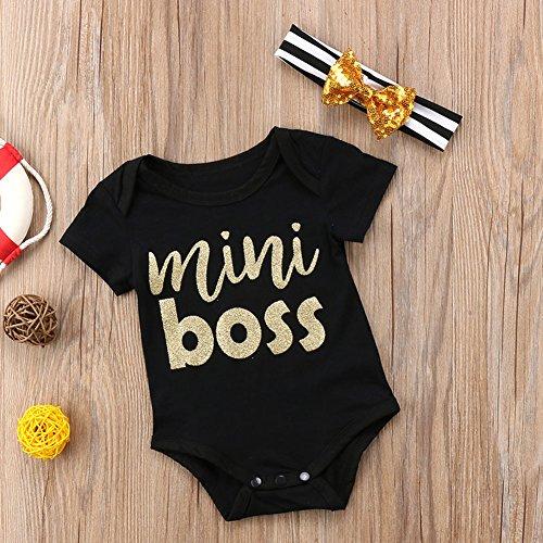 Calsunbaby Infant Baby Girl Boy Mini Boss Print Short Sleeve Romper with Headband