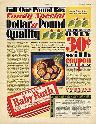 Dollar-a-pound Quality only 30c with coupon Baby Ruth Candy ad 1928 -