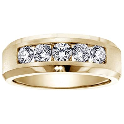 100 CT TW 5Stone Channel Set Diamond Mens Wedding Ring in 14k