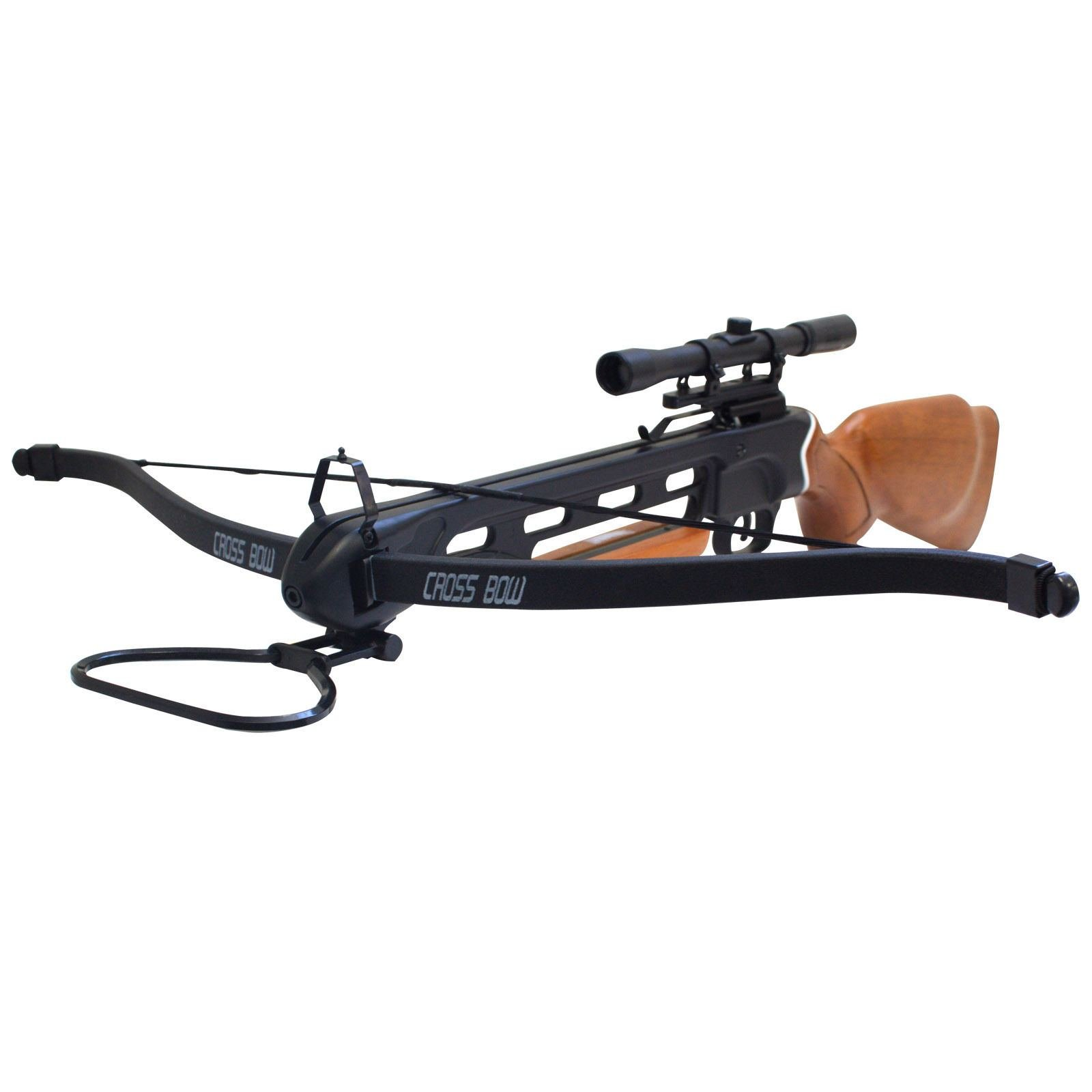 Hunting Crossbows 150 lbs Real Wood Hunting Crossbow 14 Arrows + 4x20 Scope Crossbow Bolts