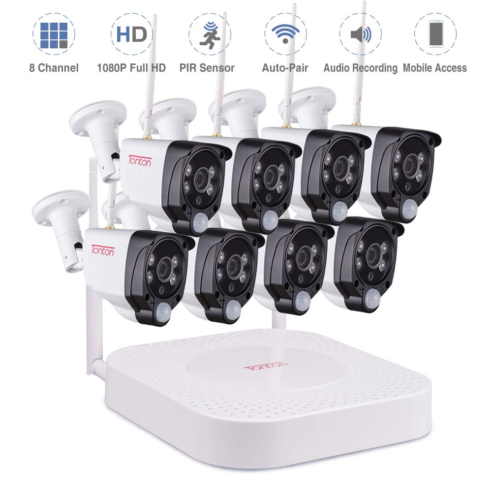 Tonton 1080P Full HD Wireless Security Camera System, 8CH NVR Kit and 8PCS 1080P 2.0 MP Waterproof Outdoor Indoor Bullet Cameras with PIR Sensor, Audio Record, Auto-Pair, Plug and Play(NO HDD) by Tonton