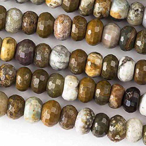 Ocean Jasper Beads Strand (Cherry Blossom Beads Ocean Jasper Beads 5x8mm Faceted Rondelle - 8 Inch Strand)