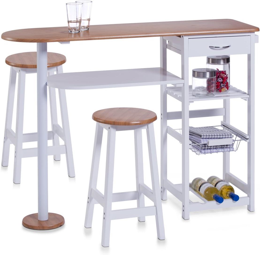 Zeller 13776 - Barra para Cocina con 2 taburetes (Tablero DM, Mesa ...