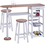 Zeller 13776 Kitchen Bar with 2 Stools Medium Density Fibreboard / Table: 118 x 38 x 89 cm / Stool: 29 x 29 x 54 cm / White with Bamboo Décor