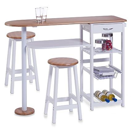 Zeller 13776 - Barra para Cocina con 2 taburetes (Tablero DM, Mesa: 118 x 38 x 89 cm, taburetes: 29 x 29 x 54 cm), Color Blanco y Madera de bambú
