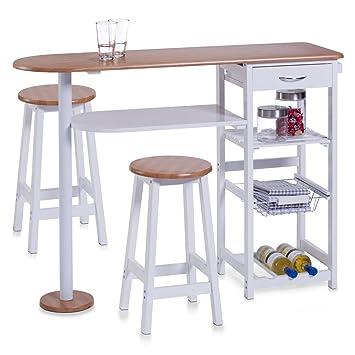 zeller barra para cocina con taburetes tablero dm mesa