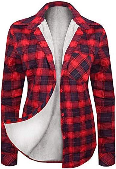 Sylar Camisas para Mujer Elegantes Estilo Retro Manga Larga Impresión A Cuadros Más Terciopelo Botón Blusa Mantener Caliente Camisa Outwear Abrigo: Amazon.es: Ropa y accesorios