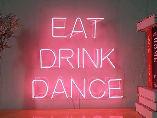 Eat Drink Dance Real Glass Neon Sign For Bedroom Garage Bar