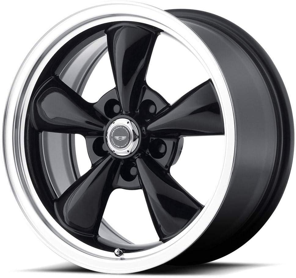 17x8//5x127mm, 0mm offset American Racing Custom Wheels AR105 Torq Thrust M Gloss Black Wheel With Machined Lip