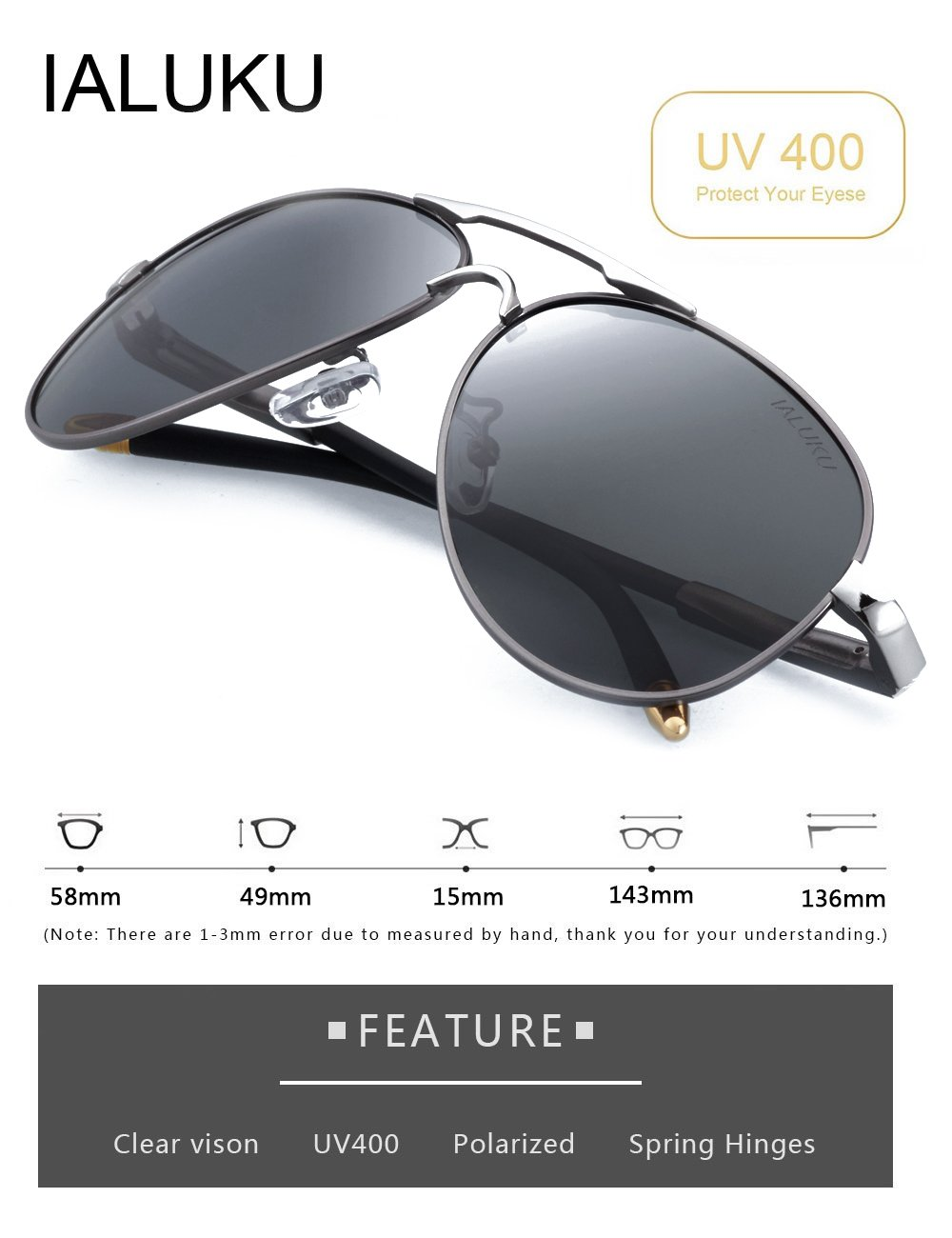 IALUKU Aviator Polarized Sunglasses Metal Frame Large 58mm Pilot Glasses for Men (Silver / Grey, 58)