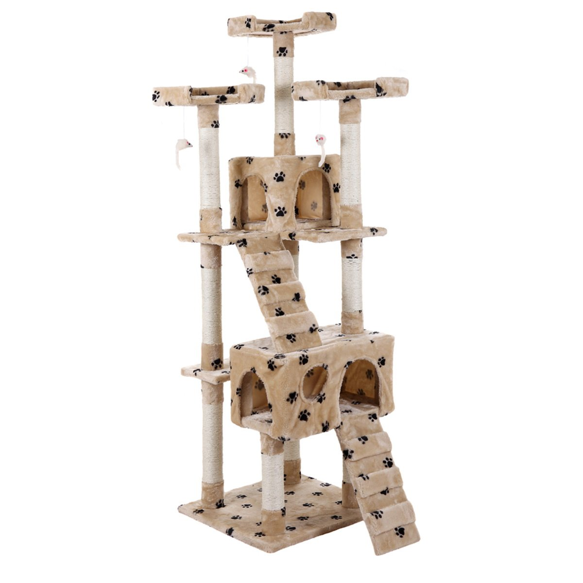 LAZYMOON 67'' Cat Tree 4-Tier Tower Condo Play House Furniture w/ Scratching posts and Toy Mouse Beige with Footprint