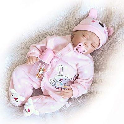 Acestar Reborn Baby Doll Realistic Newborn 22 inch 55cm Soft Silicone Cloth Body Lifelike Toys Reborn Doll for Boys and Girls Birthday Acestar-55186: Toys & Games